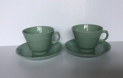 A Pair Of Vintage Wood's Ware Beryl Large Breakfast Cups And Saucers • 7.50£