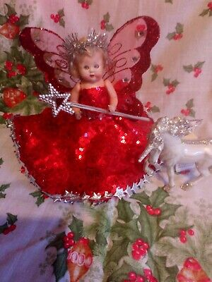 Vintage Christmas Tree Fairy Doll RODDY  Refurbished  6 Tall Red Sequin Dress  • 8£
