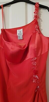 One Shoulder Dress Size 14 By Simon Ellis In Coral Embellishments.          (o) • 4.99£