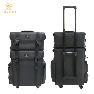 Black Nylon Makeup Case 2 In 1 Pro Makeup Artist Rolling Trolley With 8 Drawers • 109.99£
