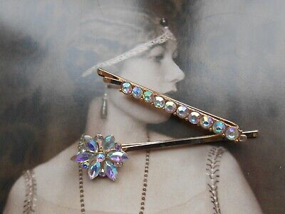 Pair 2 Diamante Crystal AB Flower Hair Slide Grip Pin 1920s Bride Prom Flapper • 2.99£