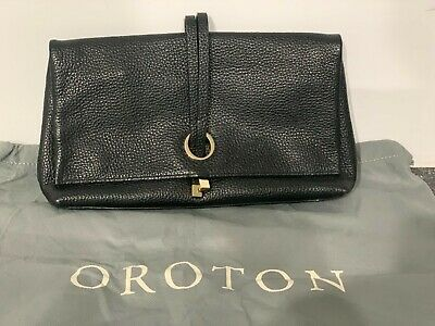 AU40 • Buy Geniune OROTON Black Leather Clutch Or Crossbody Bag