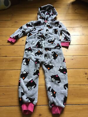 Soft Grey Hooded Onesie (not Gerber) - Cat Print From Next - Age 4 (104cms) • 3.90£