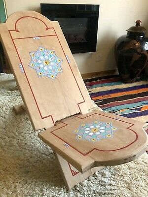 £195 • Buy Hand Made Moroccan African Wood Painted And Engraved 2 Piece Berthing Chair