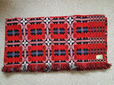 Stunning BRYNKIR Red And Black Welsh Tapestry Blanket 8' X 7' Pure New Wool • 79£
