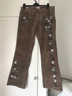 Vintage Topshop Moto Ladies Brown Cord Flares With Embroidery W32 L32 Size 14 • 5£