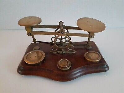 Vintage Post Office Brass Letter Balance Scales Plus 4 Weights  • 45£