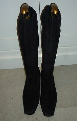 PETER KAISER Ladies BLACK SUEDE Pull On STRETCH BOOTS Low Heel - SIZE 6.5 • 55£