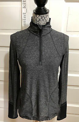 $ CDN1.28 • Buy LULULEMON Run: Pace Pusher 1/2 Zip Pullover Size 8 Heathered Black