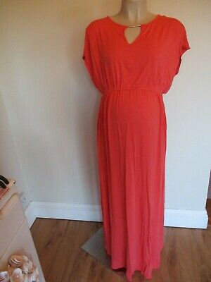 Dorothy Perkins Maternity Coral Grecian Style Maxi Dress Size 18 • 1.99£
