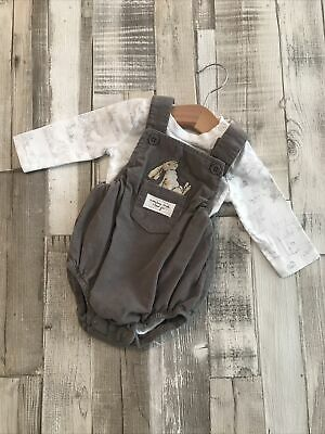 Baby Boys Dungaree Outfit 0-3 Months  How Much Do I Love You  2 Piece Set • 5£