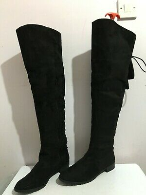 Rebel London Knee High Size 8 Womens Ladies Black Boots Shoes Faux Suede Flat • 2.20£