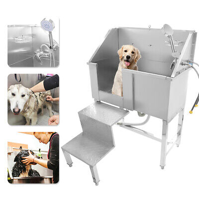 34  Stainless Steel Pet Dog Cat Bathing Wash Shower Grooming Bath Tub With Stair • 339.05£
