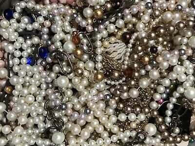 $ CDN6.49 • Buy HUGE VINTAGE TO NOW JEWELRY LOT - Pearls -All Wearable- Estate Find 7 Lbs ++
