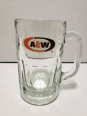 Vintage A&W Root Beer Soda Mug 6'' Tall Dimple Sides Heavy Glass • 18.73£
