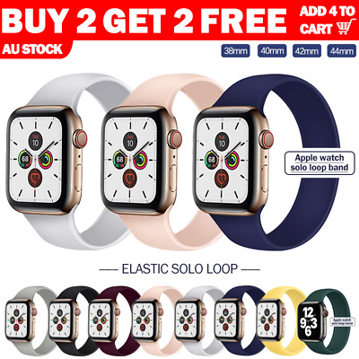 AU7.99 • Buy For Apple Watch Band Series SE 7 6 5 4 Silicone Solo Loop Elastic 41 45mm Strap