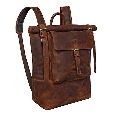 STILORD 'Chris' Leather Backpack Roll Top Men Women For Laptop A4 Size Large ... • 451.97£