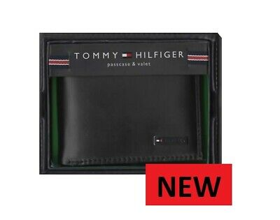 Authentic Tommy Hilfiger Black Bi-fold Men's Leather Wallet New Free Uk Shipping • 32.99£