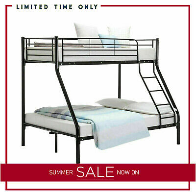 Triple Black Bunk Bed Children Adult Kids 3 Person Bed Sleeper Mattress Options • 269.99£