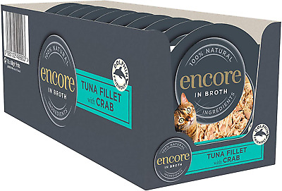 Encore 100% Natural Wet Cat Food Pot, Succulent Tuna With Pacific Crab In Broth • 11.99£