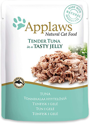 Applaws Natural Wet Cat Food, Tender Tuna In Jelly 70 G Pouch (Pack Of 16) • 18.99£