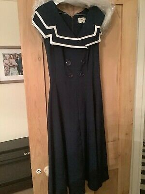 Bettie Page Dress Navy And White Size L • 5.30£