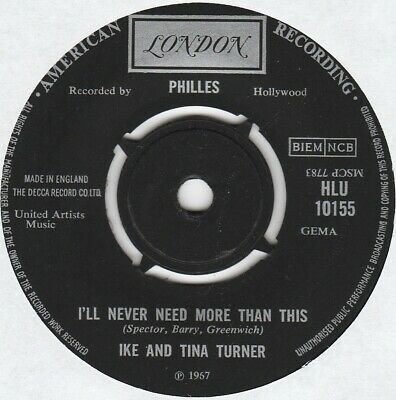 IKE AND TINA TURNER - I'll Never Need More Than This - 7  - DISC: VERY GOOD • 3.99£