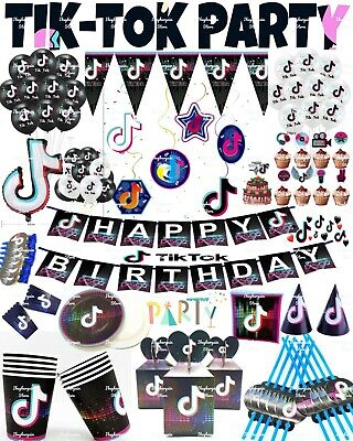 Tik Tok Birthday Party Supplies Tableware Balloons Plates Cups Tablecloth Banner • 4.87£