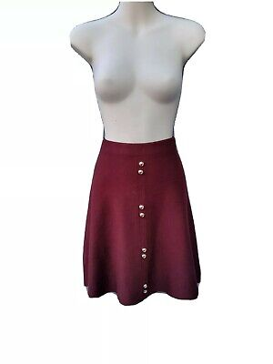 Primark Burgundy Red Viscose Blend Knitted A Line Skirt Button Up UK 12 New • 5£