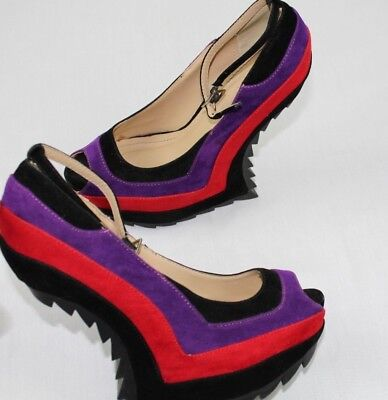 Liliana Multi-Tone Ankle Strap Heel Less Curved Wedge Size 6 • 10.89£