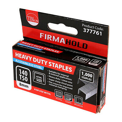 Timco Firmahold Type 140/T50/G Stainless Steel Staples 1000 Pack Size 8mm-12mm • 9.50£