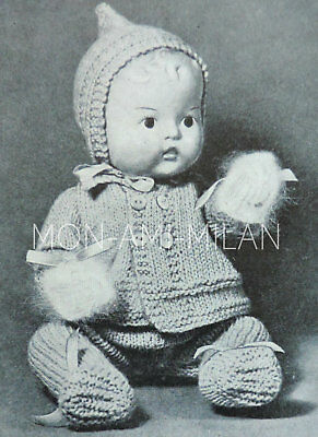 BABY DOLLS CLOTHES 1920-30s Knitting Pattern COPY Pixie-Hood,Coat,Leggings,Mitts • 2.99£