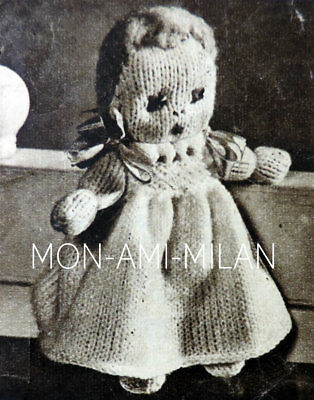 DOLL & DOLLS CLOTHES 30s Knitting Pattern PHOTOCOPY Toy Dolly With DRESS & NAPPY • 2.99£