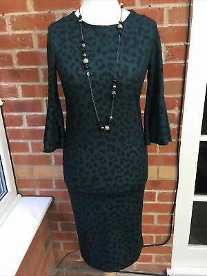 BNWT Ladies Size 12 Black & Bottle Green Dress Animal Print Stretchy Winter* • 6.99£
