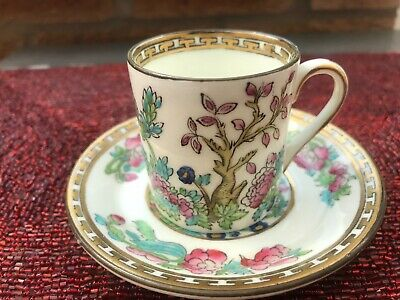 Sampson Bridgwood China Indian Tree Bone China Demitasse Cup And Saucer • 8£
