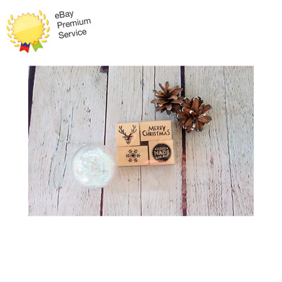 £4.99 • Buy Pack Of 4 Christmas Wooden Rubber Stamps - Stag, Merry Christmas, Snowflake