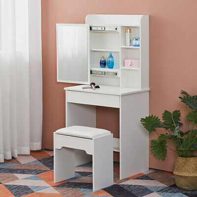 White Small Dressing Table Makeup Desk Vanity Set With Mirror Stool Girl Gift UK • 59.99£