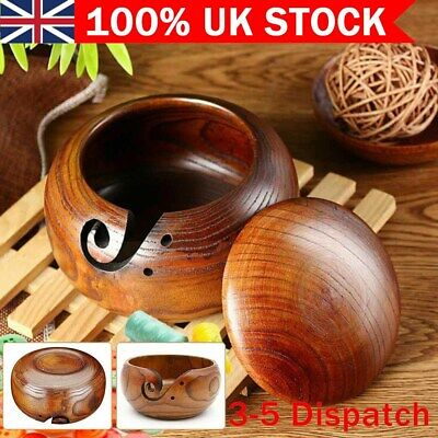 Wooden Bowl Holder Yarn Knitting Crochet Yarn Wool Storage Container With Lid UK • 15.16£