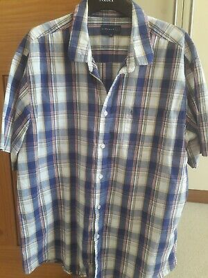 Mens Checked Shirt By LINCOLN Size Large Blue Vgc • 1.30£