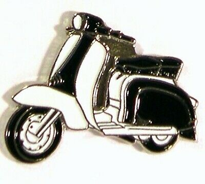 Metal Enamel Pin Badge LAMBRETTE, SCOOTER, MOD,  MOTOR CYCLES., BLACK & WHITE • 2.65£
