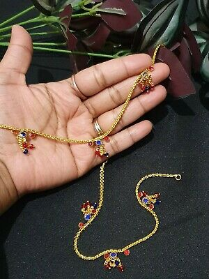 £6.99 • Buy Traditional Bollywood Costume  Anklets Indian Payal Studded/ Diamonds