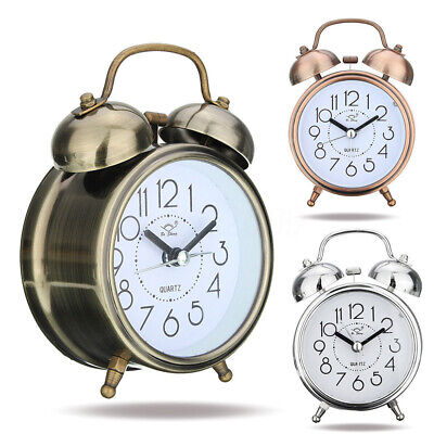 AU17.67 • Buy BL_ KQ_ Silent Analog Alarm Clock Vintage Retro Classic Night Light Extra Loud T