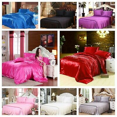 AU61.99 • Buy Smooth 1000TC Silk Satin Queen King Size Bed Sheet Set Flat Sheet FItted Sheet