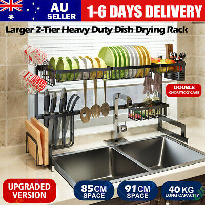 AU69.90 • Buy Dish Drying Rack Organizer 2Tier Kitchen Draining Over Sink Stainless Steel AU