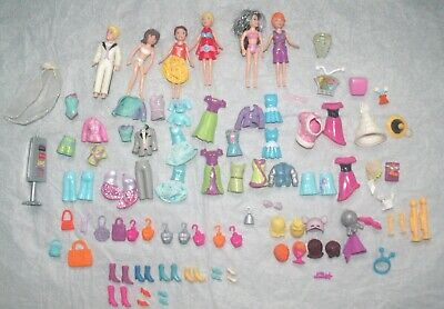 An Assortment Of Polly Pocket Items, Dolls, Clothes, Boots, Bags Etc • 9.99£