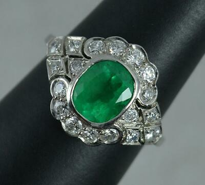 Platinum Colombian Emerald & Diamond Cluster Ring • 1,725£