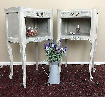 £295 • Buy French Louis Style Cabinets Bedside Tables Painted In Winter Grey Chalk Paint