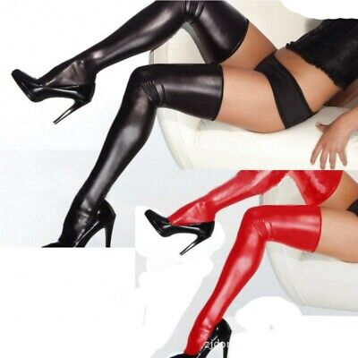 Women Dancing Wet Look Faux PU Leather Thigh High Stockings Lace Anti-Slip Socks • 7.99£