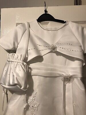 Holy Communion Dress, White With Cape And Bag To Match, From La Fleur • 22£