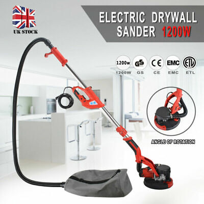 Telescopic Drywall Sander With LED UK Plugs Dust Free Wall Ceiling Dry 1200W • 168.99£